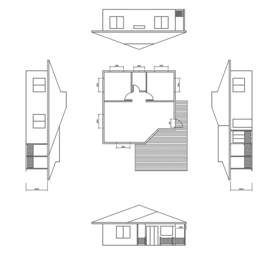 Vues AVANA - Maison en bois avec ossature acier de type F3 de 62 m²