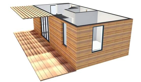 Vue 3D BANGALO – Bungalow en bois avec ossature acier de type F2 de 33 m²