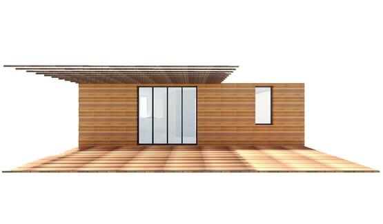 Vue Face 3D BANGALO – Bungalow en bois avec ossature acier de type F2 de 33 m²