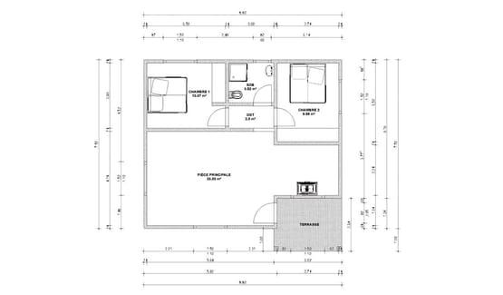 Plan GASIA – Maison à ossature métallique de type F3 de 69 m²