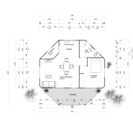 Plan MELANESIE – Bungalow en bois avec madriers de type F2 de 59 m²