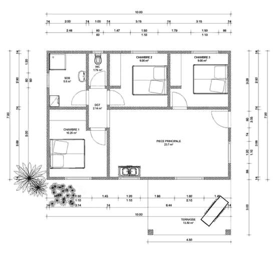 Plan ORELIA – Maison en bois avec ossature métallique de type F4 de 83 m²