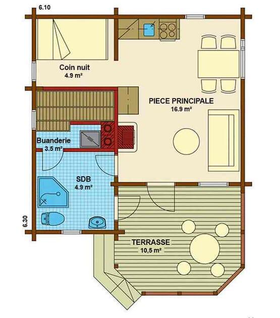 Plan RAIJA – Chalet en bois avec madriers type F2 de 41 m²