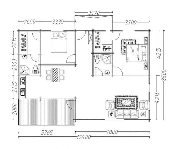 Plan OLGA – Villa en bois avec madriers type F3 de 112 m²